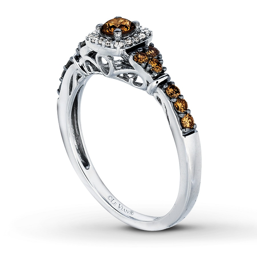 Le Vian Chocolate Diamonds 1 2 Ct Tw Ring 14k Vanilla Gold