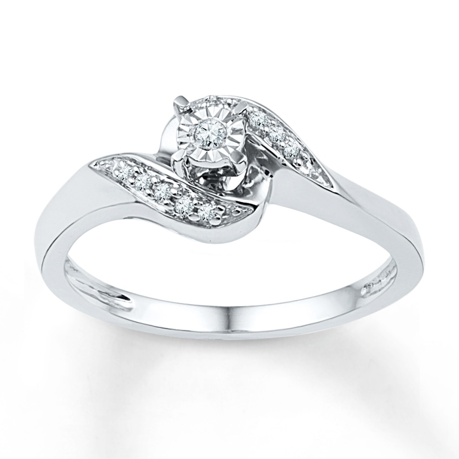KayOutlet Diamond Promise Ring 1 10 ct tw Round cut Sterling Silver