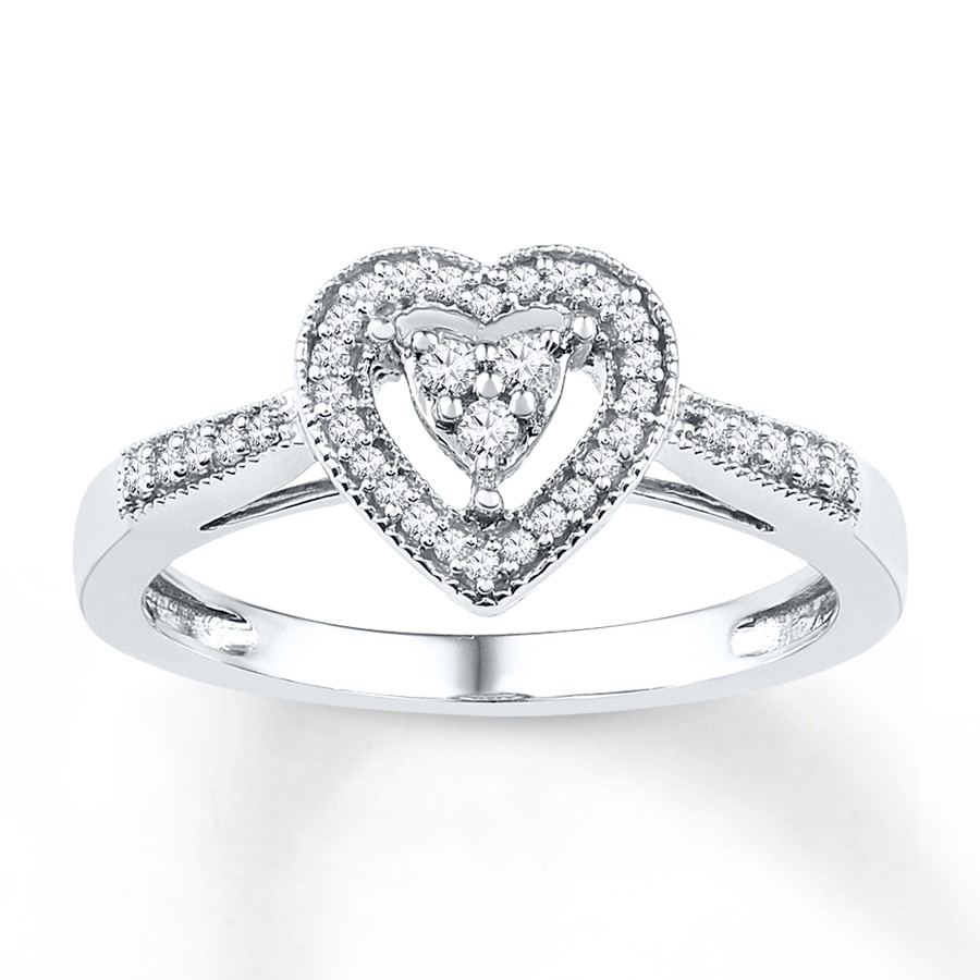 KayOutlet Heart Promise Ring 1 5 ct tw Diamonds Sterling Silver