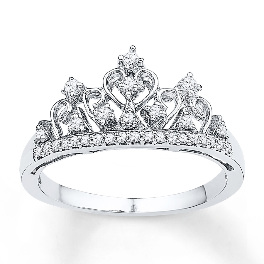 KayOutlet - Crown Ring 1/5 ct tw Diamonds Sterling Silver