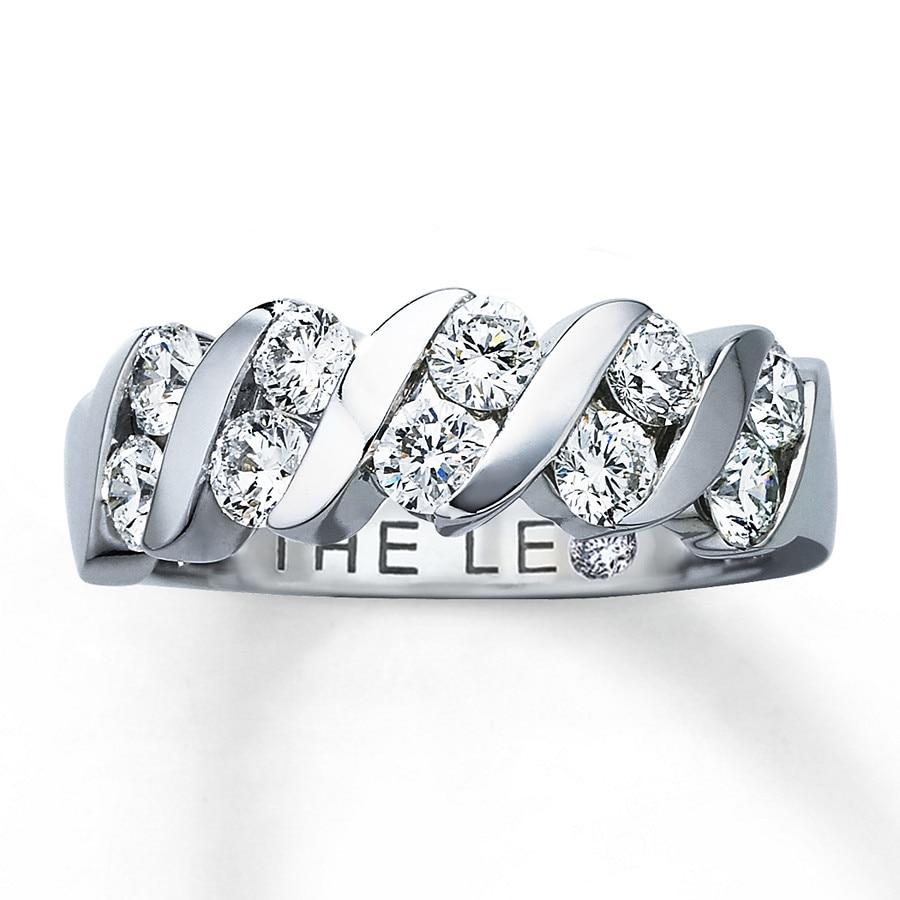 Leo Diamonds 1 Ct Tw Anniversary Ring 14k White Gold