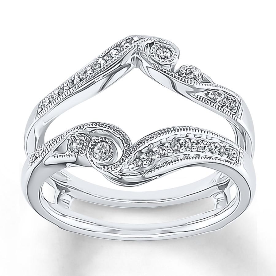Diamond Enhancer Ring 1 4 Ct Tw Round Cut 14k White Gold: Diamond Enhancer Ring 1/6 Ct Tw Round-cut 10K White Gold