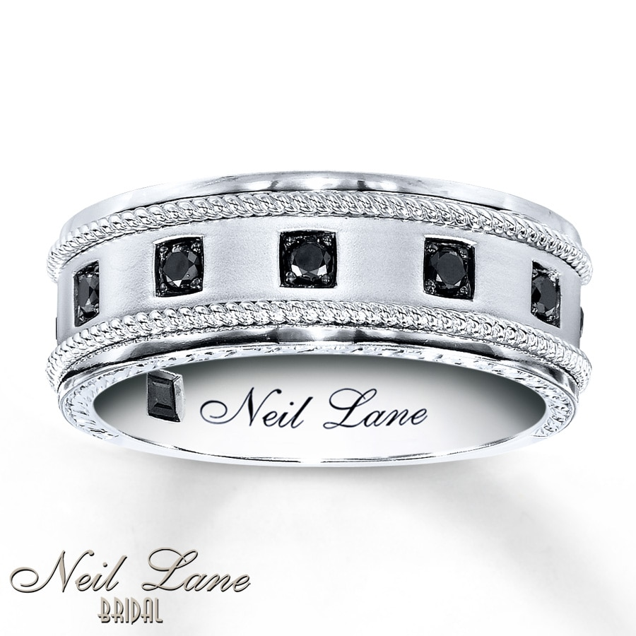 kayoutlet - neil lane men's band 1/4 ct tw black diamonds 14k gold