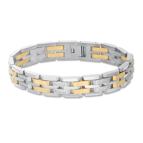 Mens Diamond Bracelet 1/2 ct tw Stainless Steel/Ion-Plating