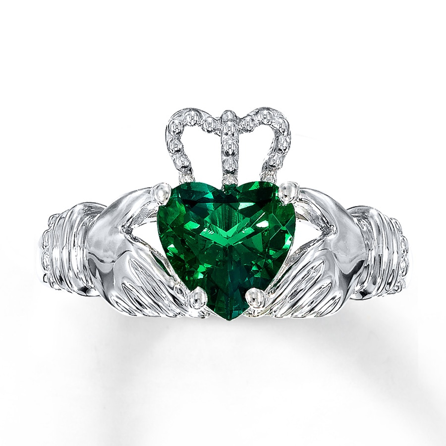 kayoutlet claddagh ring lab created emerald sterling silver