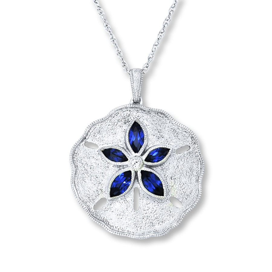 kayoutlet lab created sapphire sand dollar necklace