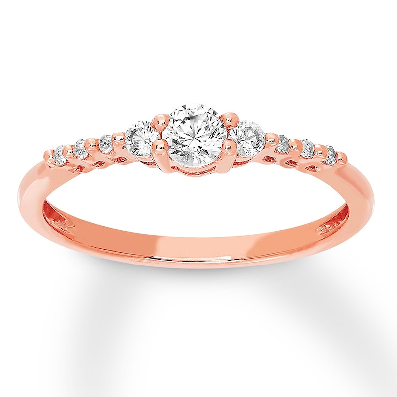 Lab Created White Sapphire Ring 10k Rose Gold Kay Outlet
