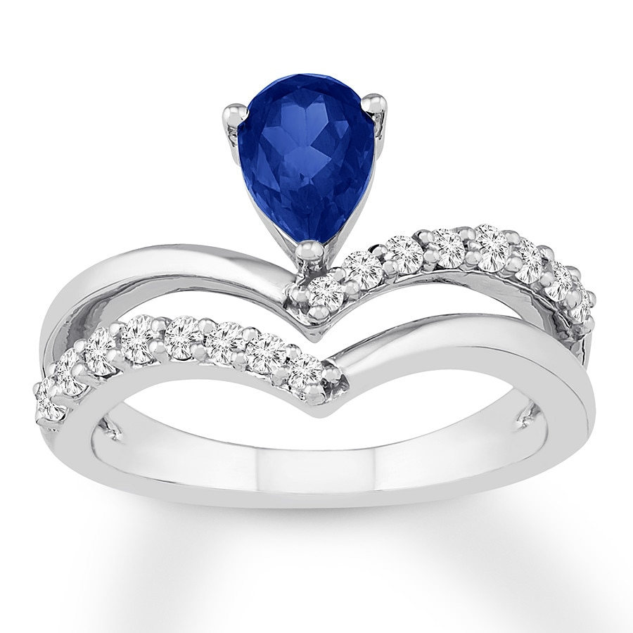 1bd01b1f2c986c Blue & White Lab-Created Sapphire Ring Sterling Silver - 134807306 ...