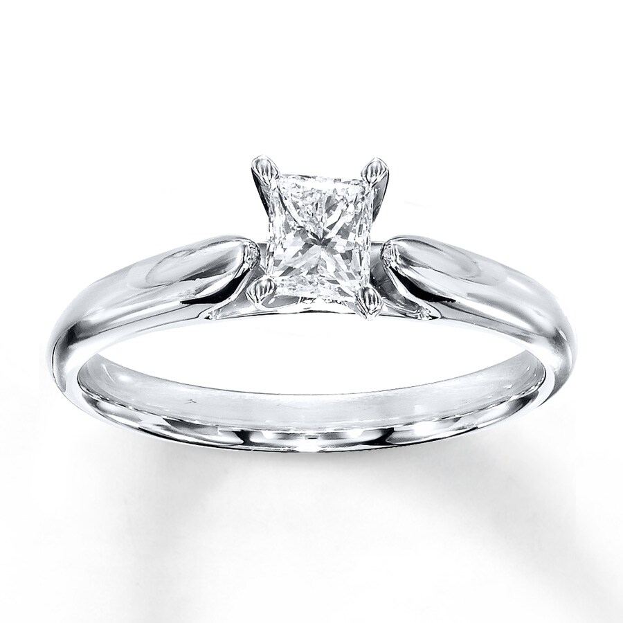 Email Diamond Solitaire Ring 12 carat Princess-cut 14K White Gold