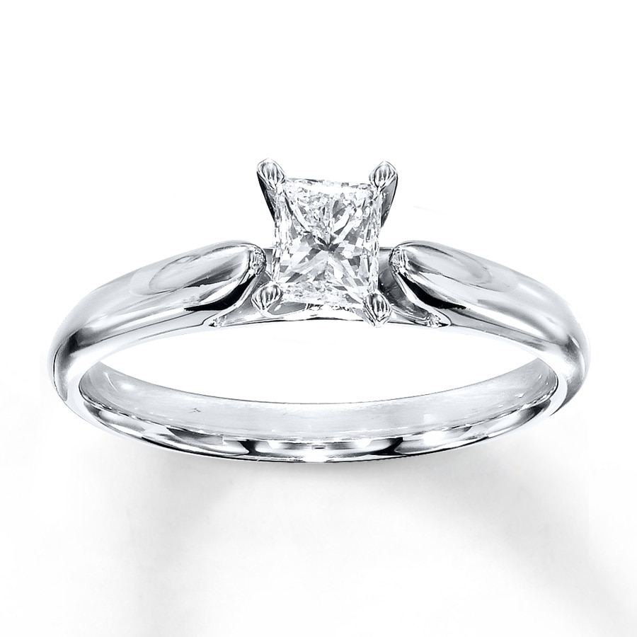 4b2b099ab Diamond Solitaire Ring 1/2 carat Princess-cut 14K White Gold. Tap to expand