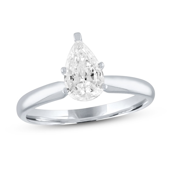 Diamond Solitaire Engagement Ring 1 ct tw Pear-Shaped 14K White G