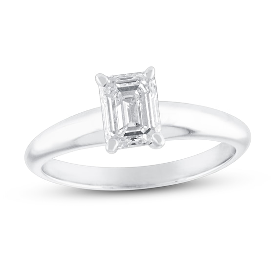 Diamond Solitaire Engagement Ring 1 ct tw Emerald-cut 14K White G