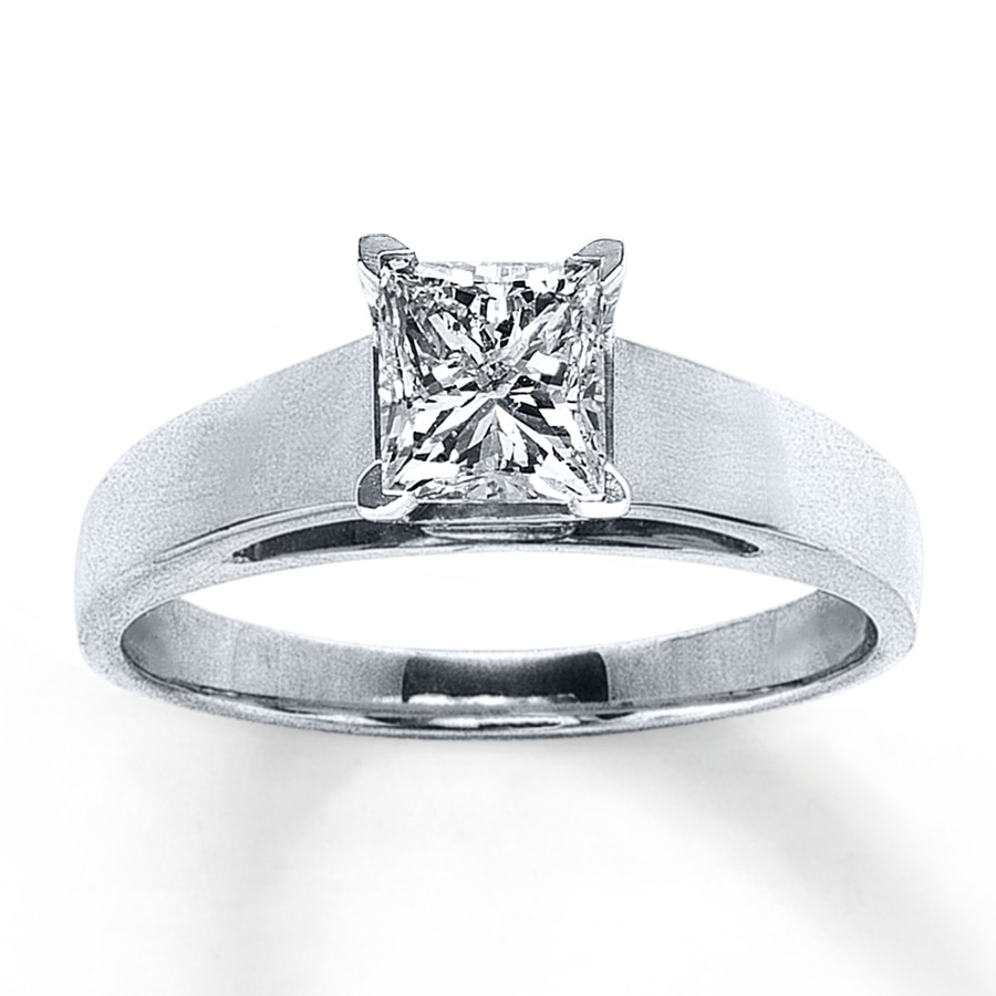 Jared Diamond Solitaire Ring 1 carat Princesscut 14K White Gold