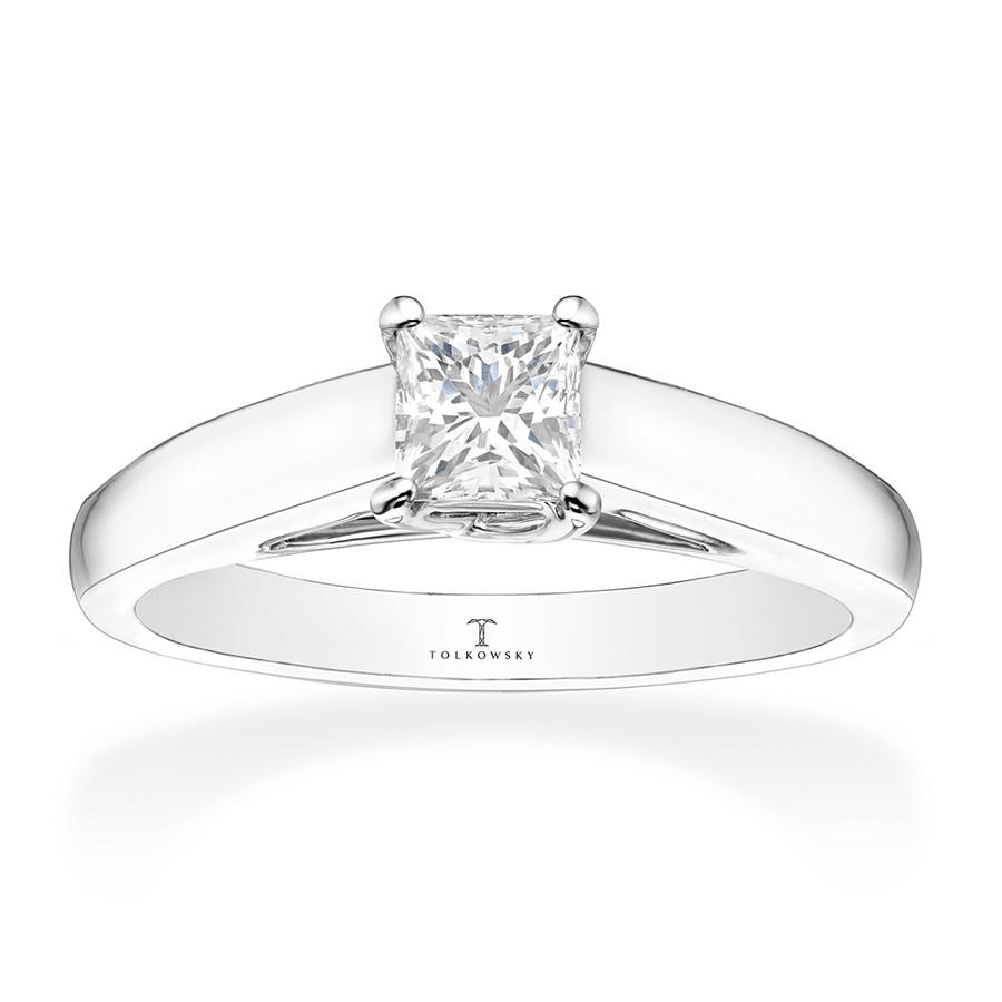 f4aa74339 Tolkowsky Diamond Ring 1/2-Carat Princess-cut 14K White Gold. Tap to expand