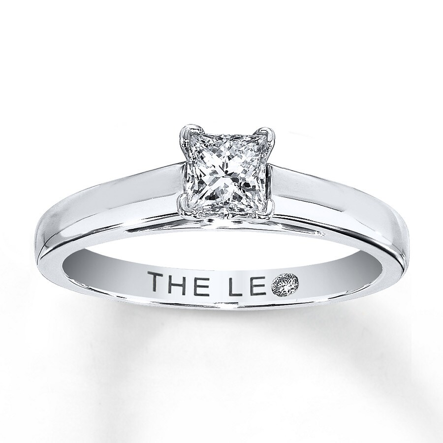 Leo Diamond Solitaire 1 2 Ct Princess Cut 14k White Gold