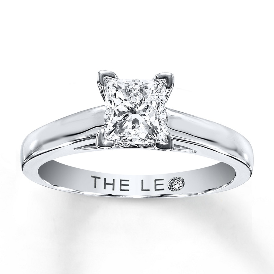 KayOutlet Leo Diamond Solitaire 1 ct Princess cut 14K White Gold Ring