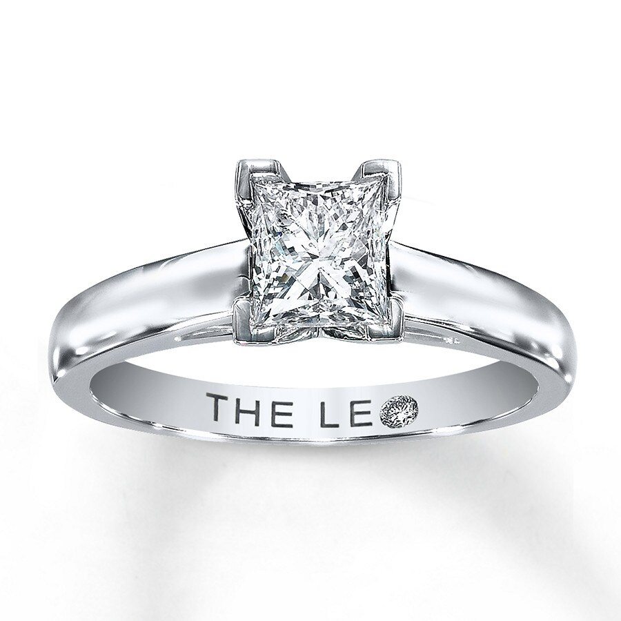 5a51db645 Leo Diamond Artisan Ring 1 Carat Princess-cut 14K White Gold. Tap to expand