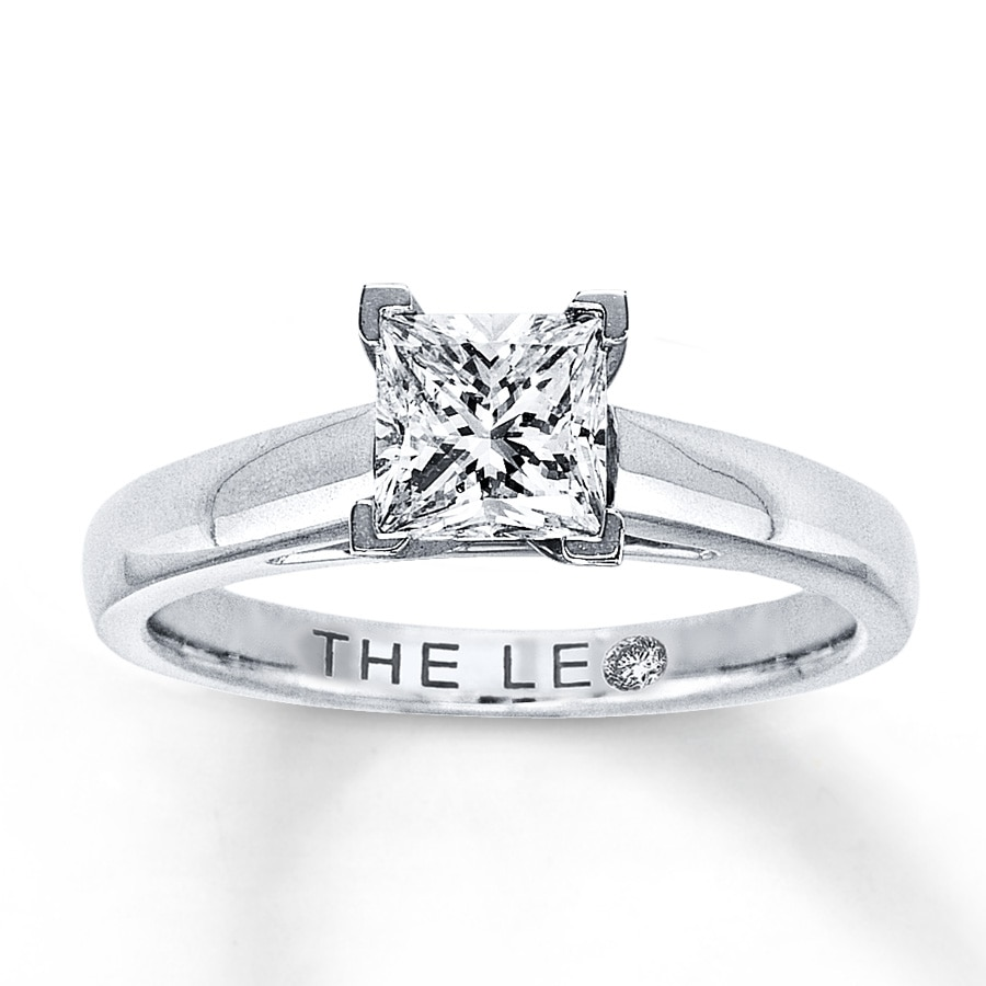 e64459a39 Leo Diamond Solitaire Ring 1 Carat Princess-cut 14K White Gold. Tap to  expand