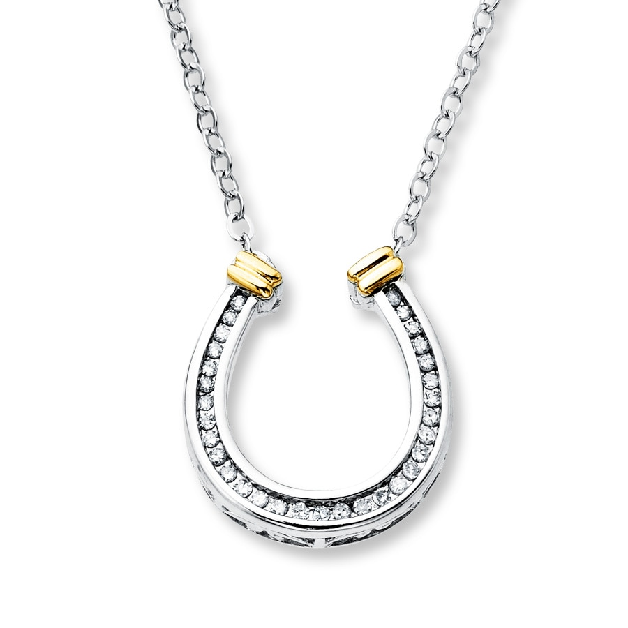 Horseshoe Necklace 1 8 Ct Tw Diamonds Sterling Silver 10k