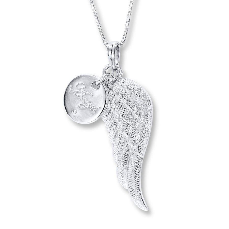 silver cubic sterling necklace wing angel cz zirconia
