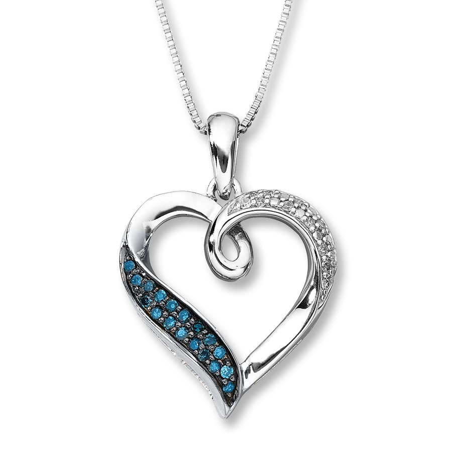 Blue Amp White Diamonds 1 5 Ct Tw Heart Necklace Sterling