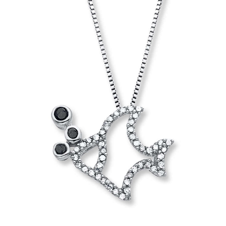 Artistry Diamonds Diamond Fish Necklace 1/5 ct tw Black/White Sterling Silver DsWn6DG2