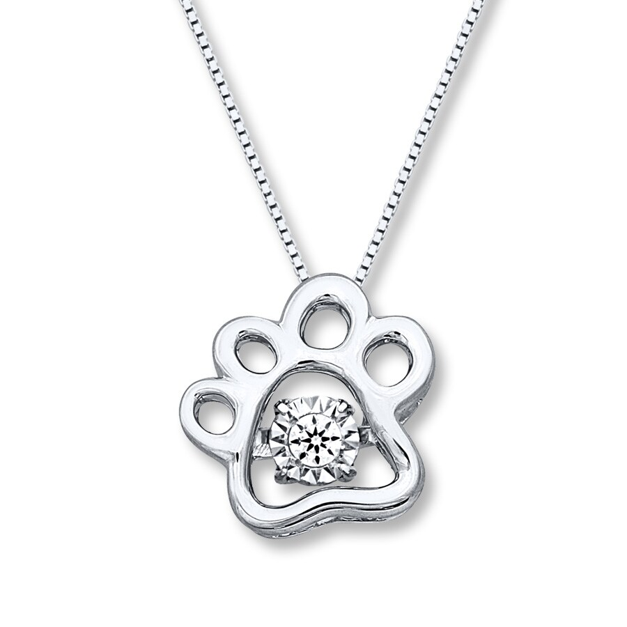 0f5dabf70 Diamonds in Rhythm Dog Paw Print Necklace Sterling Silver. Tap to expand