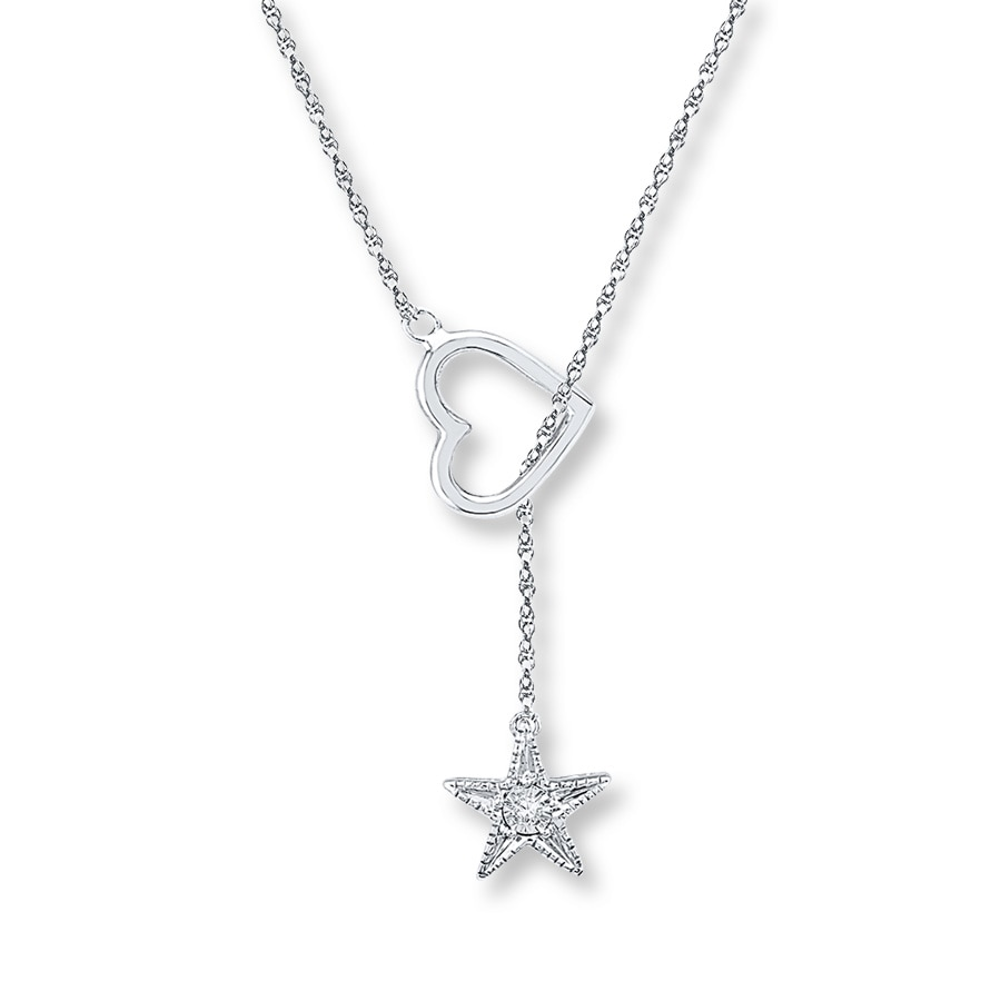 Star Lariat Necklace Diamond Accent Sterling Silver