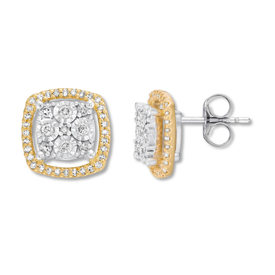 385e0337a Diamond Earrings 1/3 ct tw Round-cut 10K Two-Tone Gold - 182045500 ...