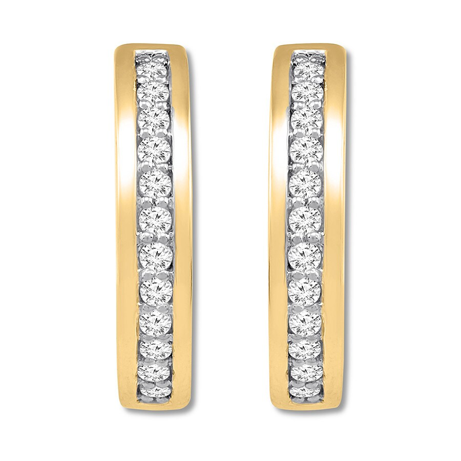 Diamond Hoop Earrings 1 2 Carat Tw 10k Yellow Gold Tap To Expand