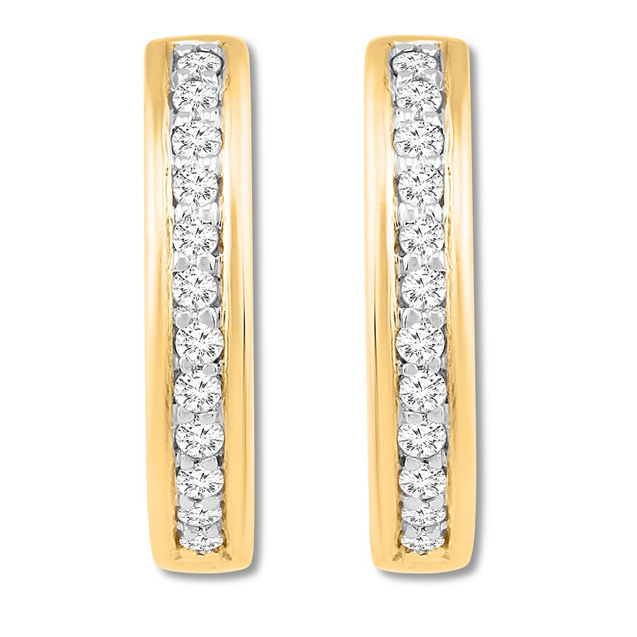 f041615cd Diamond Hoop Earrings 1/3 carat tw 10K Yellow Gold - 182327609 ...