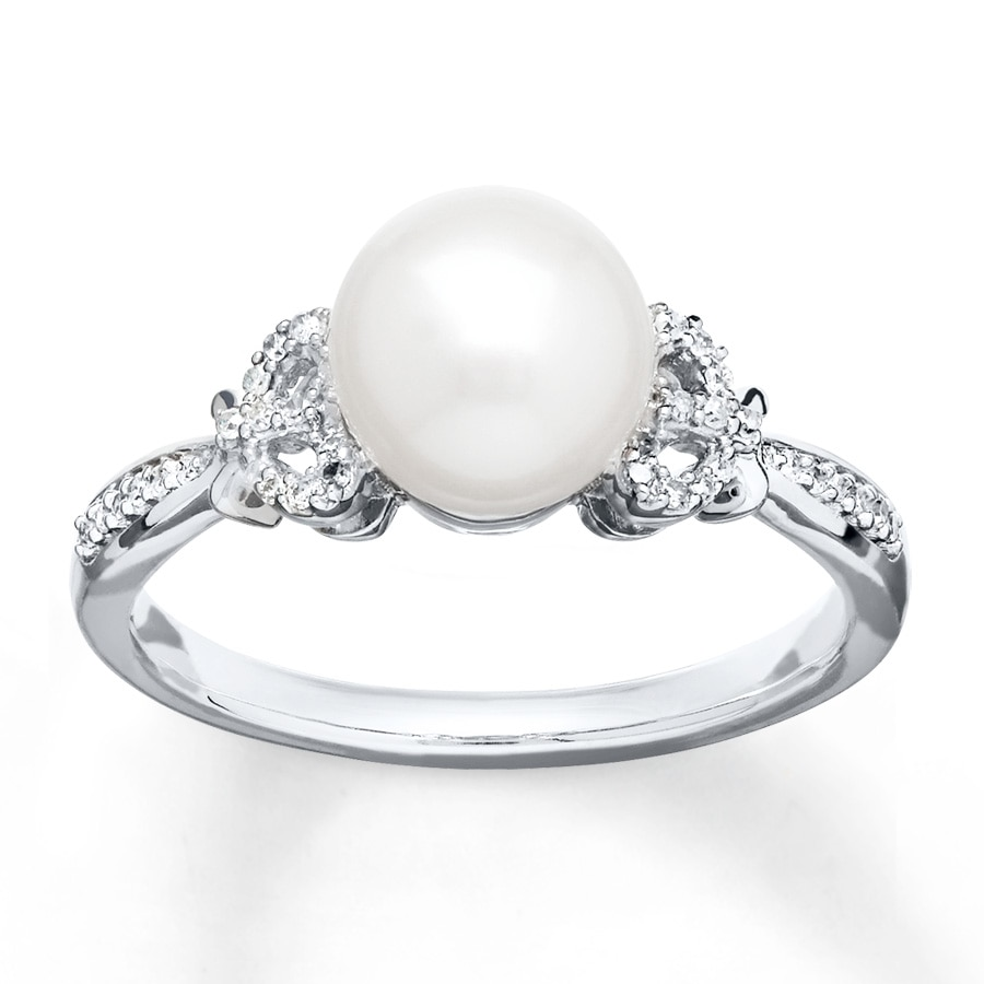 KayOutlet Cultured Pearl Ring 1 15 ct tw Diamonds Sterling Silver