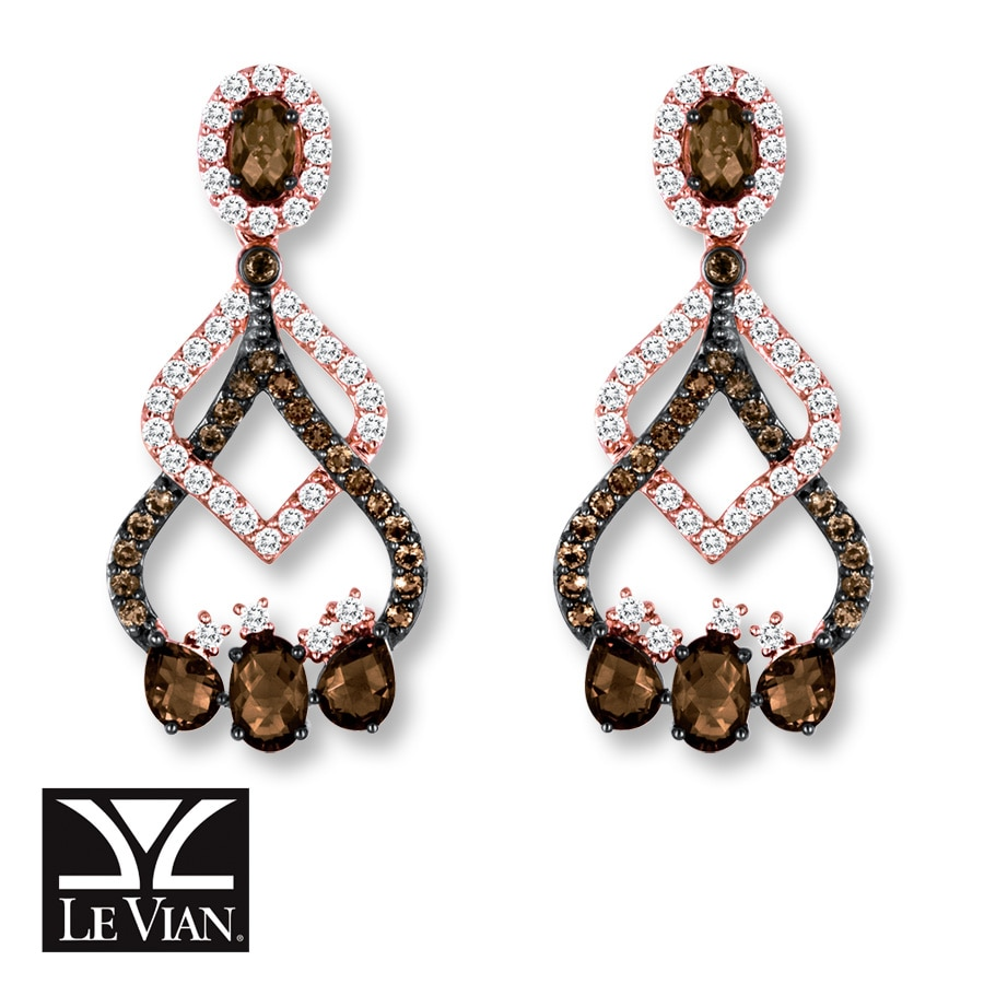 Le Vian Chocolate Quartz White Topaz Earrings 14k Gold