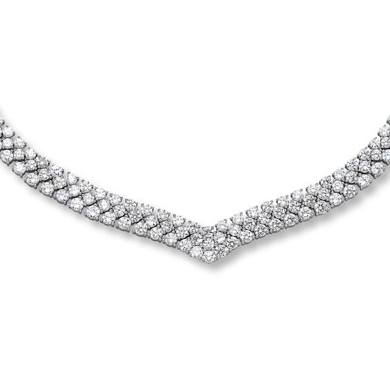 Cubic Zirconia Necklace Round-cut Sterling Silver