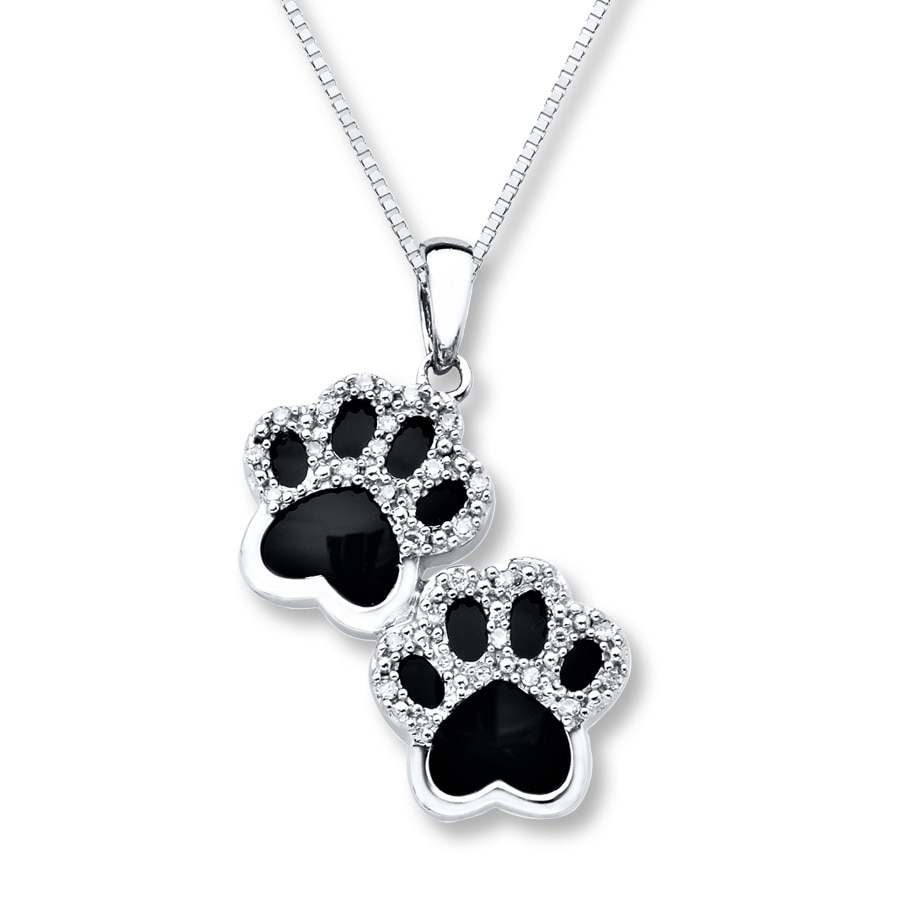 Kayoutlet onyx paw print necklace 110 ct tw diamonds sterling silver hover to zoom aloadofball Gallery