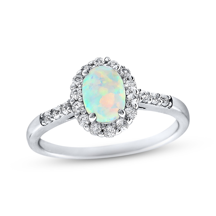 KayOutlet LabCreated Opal Ring LabCreated Sapphires Sterling Silver