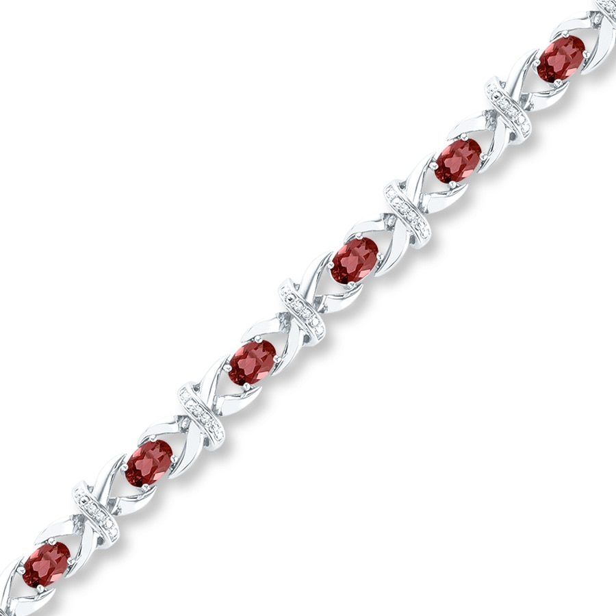 Kayoutlet Garnet Bracelet 1 8 Ct Tw Diamonds Sterling Silver