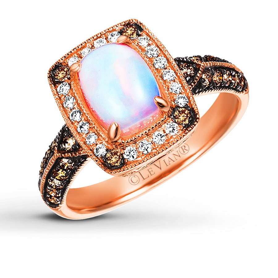 Le Vian LeVian Opal Ring 3/8 ct tw Diamonds 14K Strawberry Gold MLUhK0i