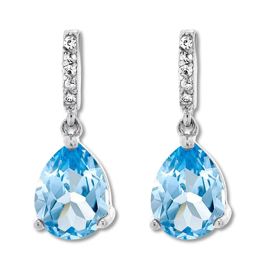 3f2b826da Blue & White Topaz Earrings Sterling Silver - 375893308 - KayOutlet