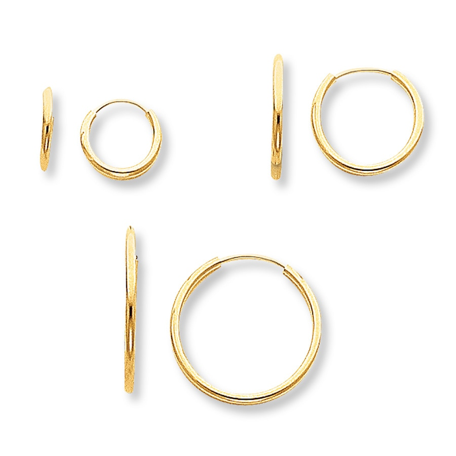 children s hoop earrings kayoutlet children s hoop earrings 3 pair set 14k yellow 7291