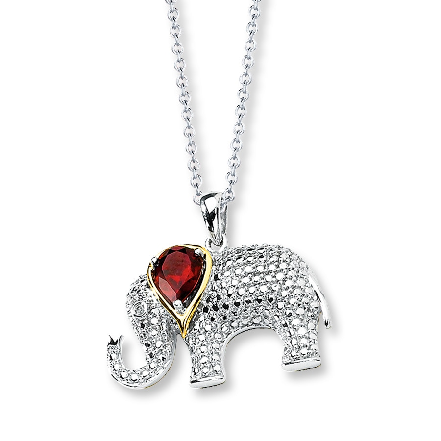 KayOutlet Elephant Necklace GarnetDiamonds Sterling Silver14K Gold