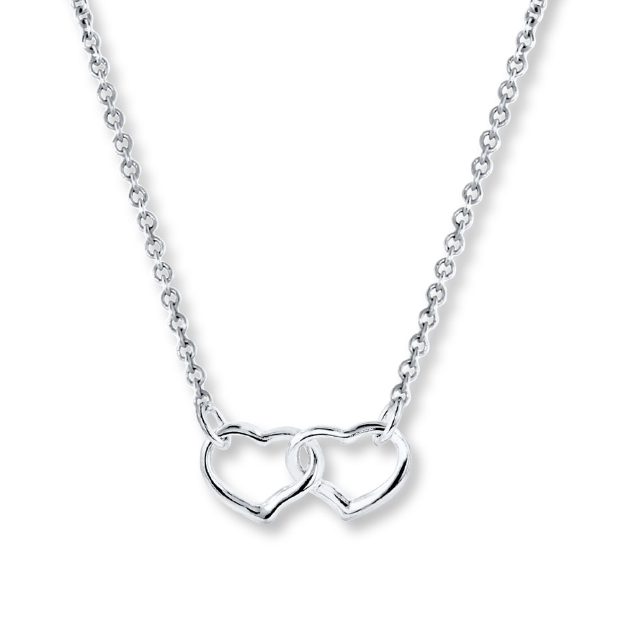 8b9b4a1fa2dbd Double Heart Necklace Sterling Silver 18