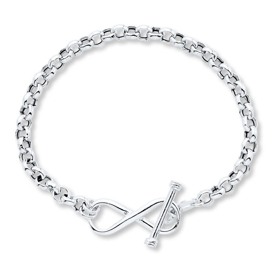 kayoutlet infinity symbol toggle bracelet sterling silver