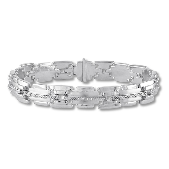 Mens Diamond Bracelet 1/10 ct tw Round-cut Sterling Silver
