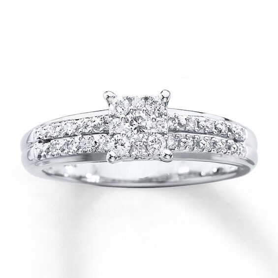 Diamond Engagement Ring 1/4 ct tw Round-cut 10K White Gold