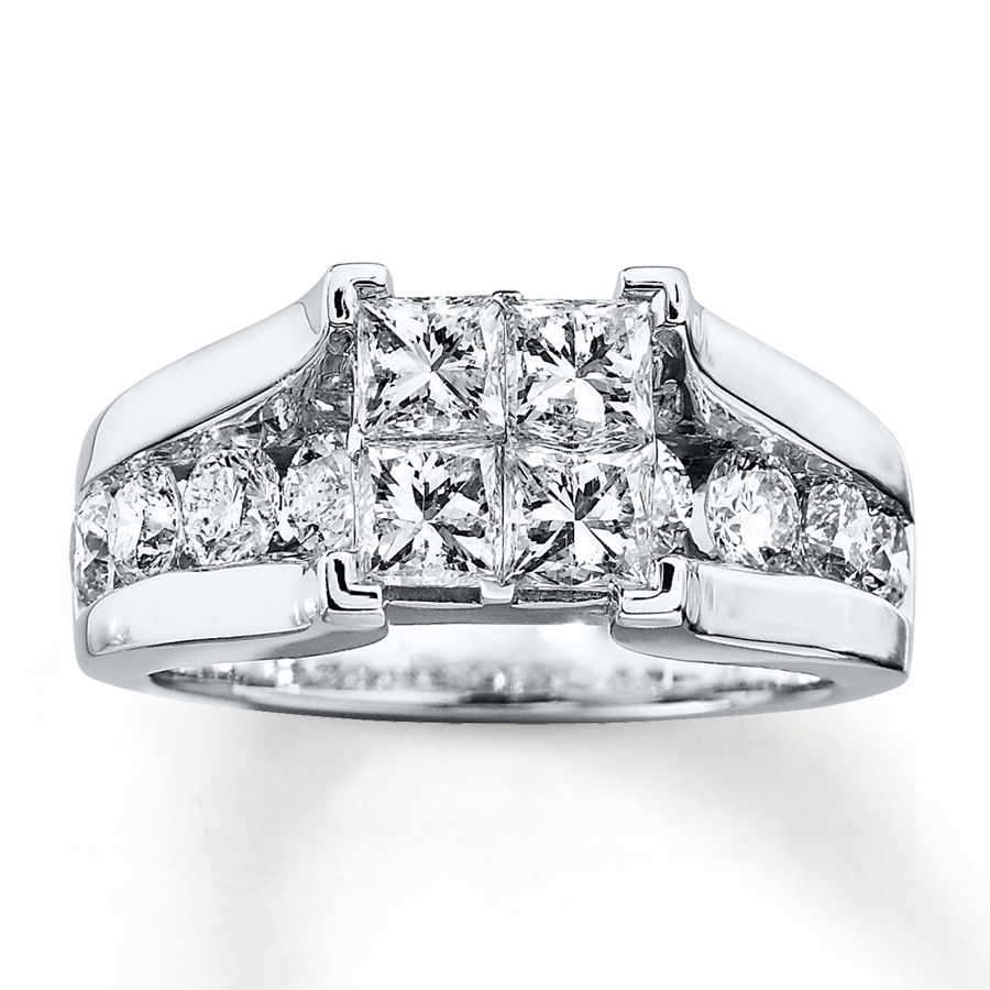 Diamond Wedding Band 1 3 Ct Tw Princess Cut 14k White Gold: Diamond Engagement Ring 2-3/4 Ct Tw Princess-cut 14K White
