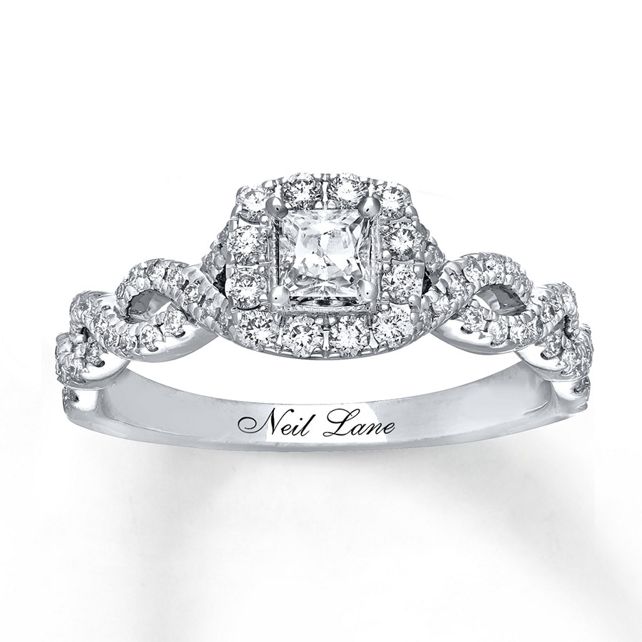 146be3f4d Neil Lane Engagement Ring 5/8 ct tw Princess-cut 14K White Gold. Tap to  expand
