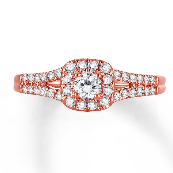 Diamond Engagement Ring 3/8 ct tw Round-cut 10K Rose Gold