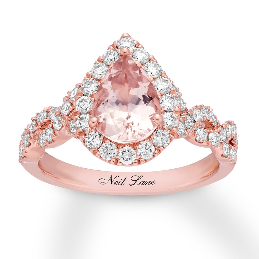 Neil Lane Morganite Engagement Ring 3/4 ct tw Diamonds 14K Gold ...