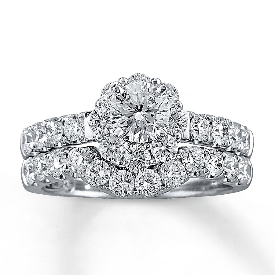 Leo Diamond Bridal Set 2 Ct Tw Round-cut 14K White Gold